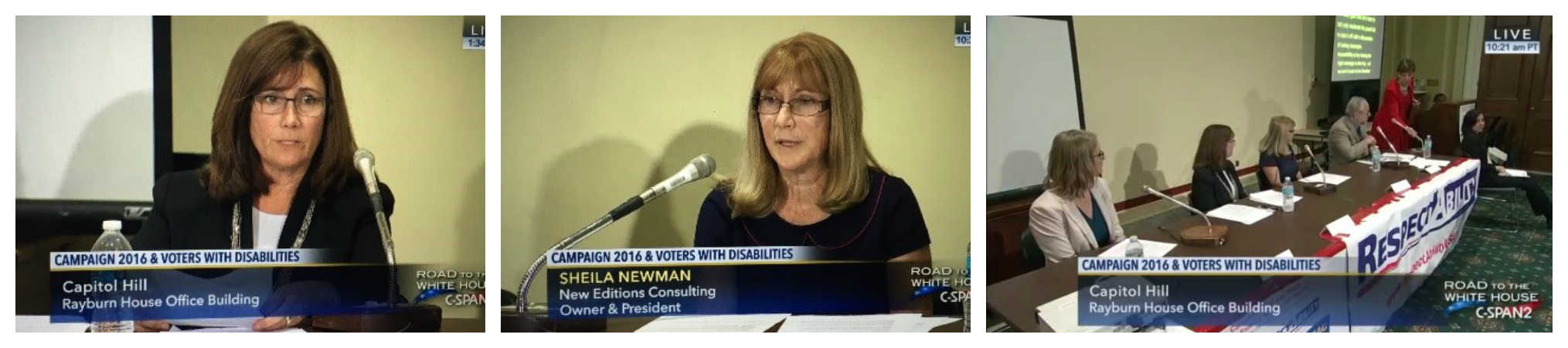 Snapshots of Shelia Newman and Cindy Ryan on CSPAN