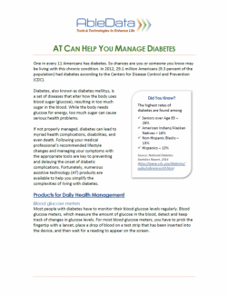 AT Can Help You Manage Diabetes front cover