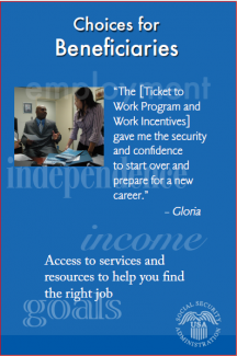Poster featuring Gloria, a Ticket to Work ticket holder