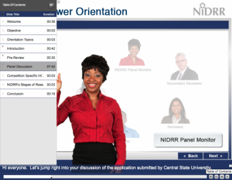 Screenshot from the Orientation Module