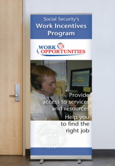 Display banner featuring an employee who is a little person working in a call center