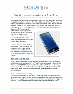 The Accessibility and Mobile Apps Story front cover