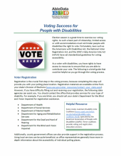 Voting Success for Those with Disabilities Front Page