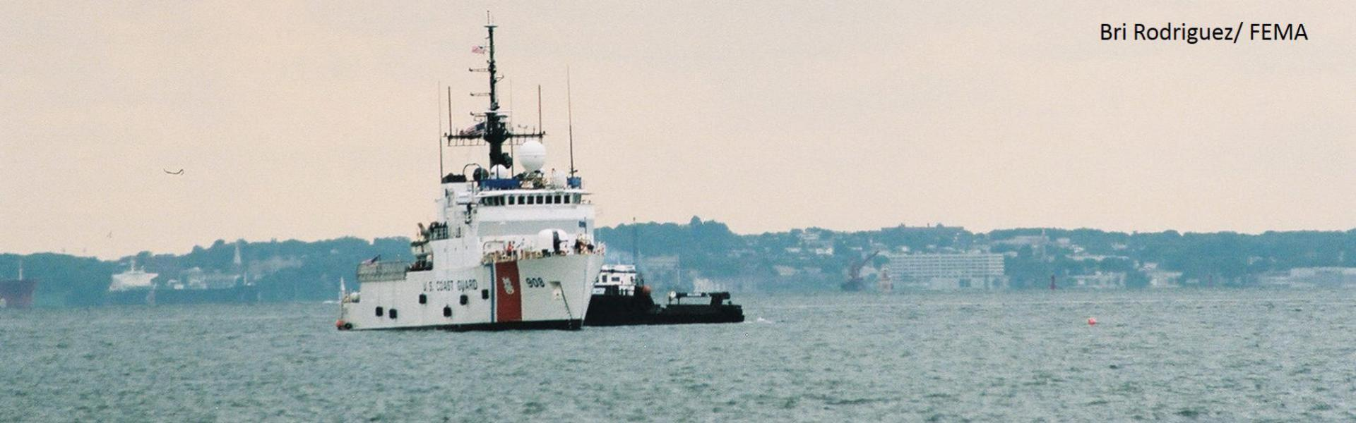 US Coast Guard ship on the water. Photo by Bri Rodriguez, FEMA